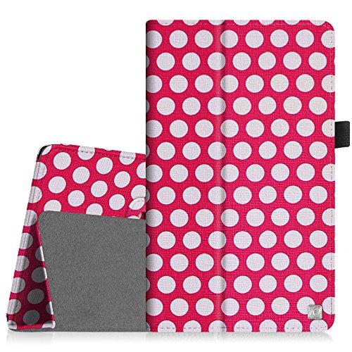[Eckenschutz] Fintie Samsung Galaxy Tab 3 7.0 Lite T110 T111 T113 T116 Hülle Case - Slim Fit Folio Bookstyle Kunstleder Schutzhülle Cover Tasche mit Ständerfunktion für Tab 3 Lite 7.0 Zoll Tablet, Punktmuster
