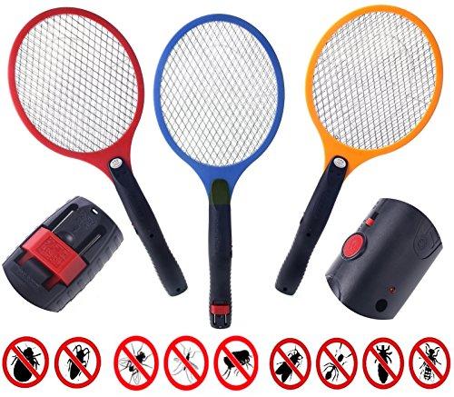 1 Elektrische Fliegenklatsche mit AKKU extra STARK / Aufladbarer elektronischer Insektenvernichter Fliegenfänger erzeugt eine elektrische Spannung im Metallgitter (Rot) STAR-LINE®
