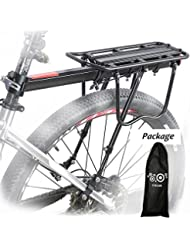 Bicicleta Portabultos, Calar Aluminio Bicicleta Trasera Estante Bicicleta Portaequipajes Bicicleta Accesorios Soporte Ciclismo Tija Estante Mountain Bike portaequipajes con Reflector