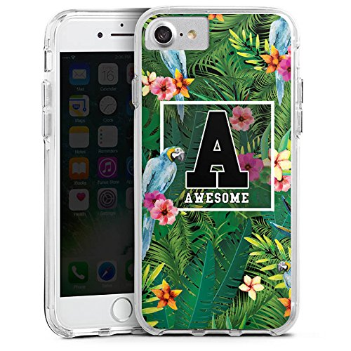 Apple iPhone 6 Bumper Hülle Bumper Case Glitzer Hülle Awesome College Blumen Bumper Case transparent