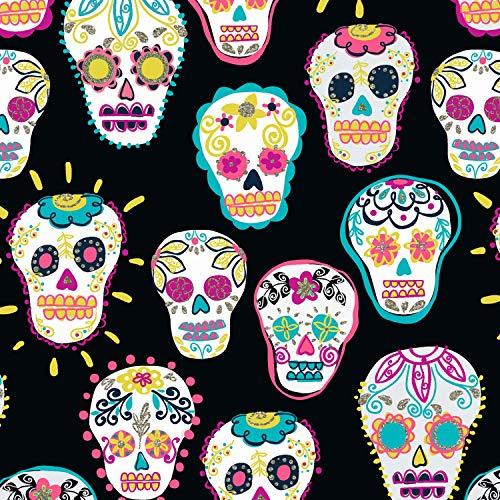Timeless Treasures TT156 Stoff – Tag der Toten Sugar Skulls Metallic – 0,5 Meter – 100% Baumwolle