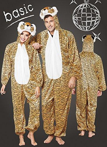 Faschingsfete Herren Motto-Party Karneval Kostüm Plüsch Tiger, Onesie, Komplett-Jumpsuit, One Size, Braun (Plüsch Tiger Maske)