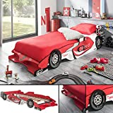 Kinderbett RED RACER 190x90cm 200x90cm Jugendbett Autobett rot Bett F1 Rennauto