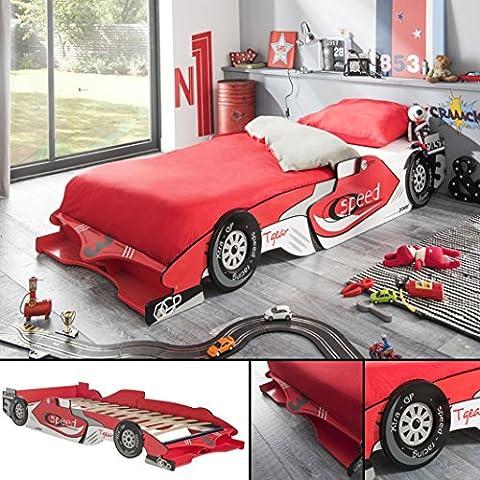 Kinderbett RED RACER 190x90cm 200x90cm Jugendbett Autobett rot Bett F1 Rennauto (Günstige Jugendbetten)