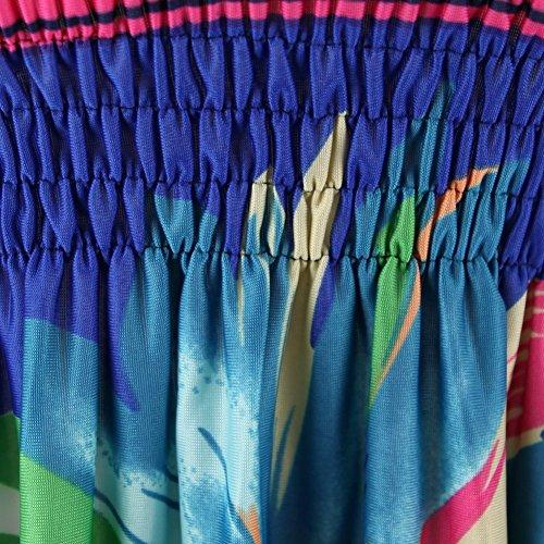 Chouette Femme d'ete Robe Sans Matches Dos Nu Imprimé Floral Robe de Plage Bleu