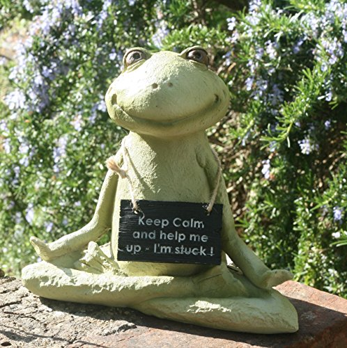 Francesca The Yoga Frog Garden - Figura decorativa con texto en inglés Keep Calm and help me up, con texto en inglés I'm stuck!
