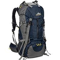 SKYSPER Sac à Dos de Randonnée 50L (45 + 5) en Nylon avec Housse de Protection Imperméable Ultraléger pour Alpinisme…