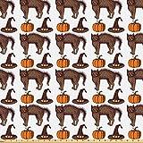 ABAKUHAUS Halloween Stoff als Meterware, Kürbis Hexe Hut
