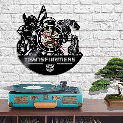 Schallplattenuhren, Nicht tickende Uhr - Transformatoren - Kinderzimmer Dekor Geschenk, Vintage handgemachte Quarzuhr für Wohnzimmer