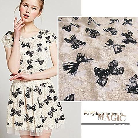 Nueva 2M Lotes Bowknot Impreso francés africano del cordón material de la tela de la vendimia para coser el vestido de boda de la ropa Telas