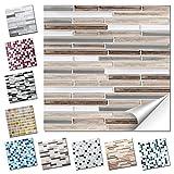 Wandaro 4er Set Fliesenaufkleber 27 x 25,4 cm Kupfer marmor Silber Taupe Ziegel Design 34 I 3D Aufkleber Fliesenfolie Mosaik Bad Küche W3467
