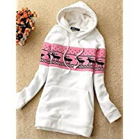 CU@EY Women's Hooded Spliced Jumper Little Fawn Top Outwear Sweat Hoodie , one-size