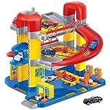 Dominiti Parkgarage Parkhaus auf 3 Ebenen mit 6 Autos, Spielzeug Tankstelle Garage Autogarage