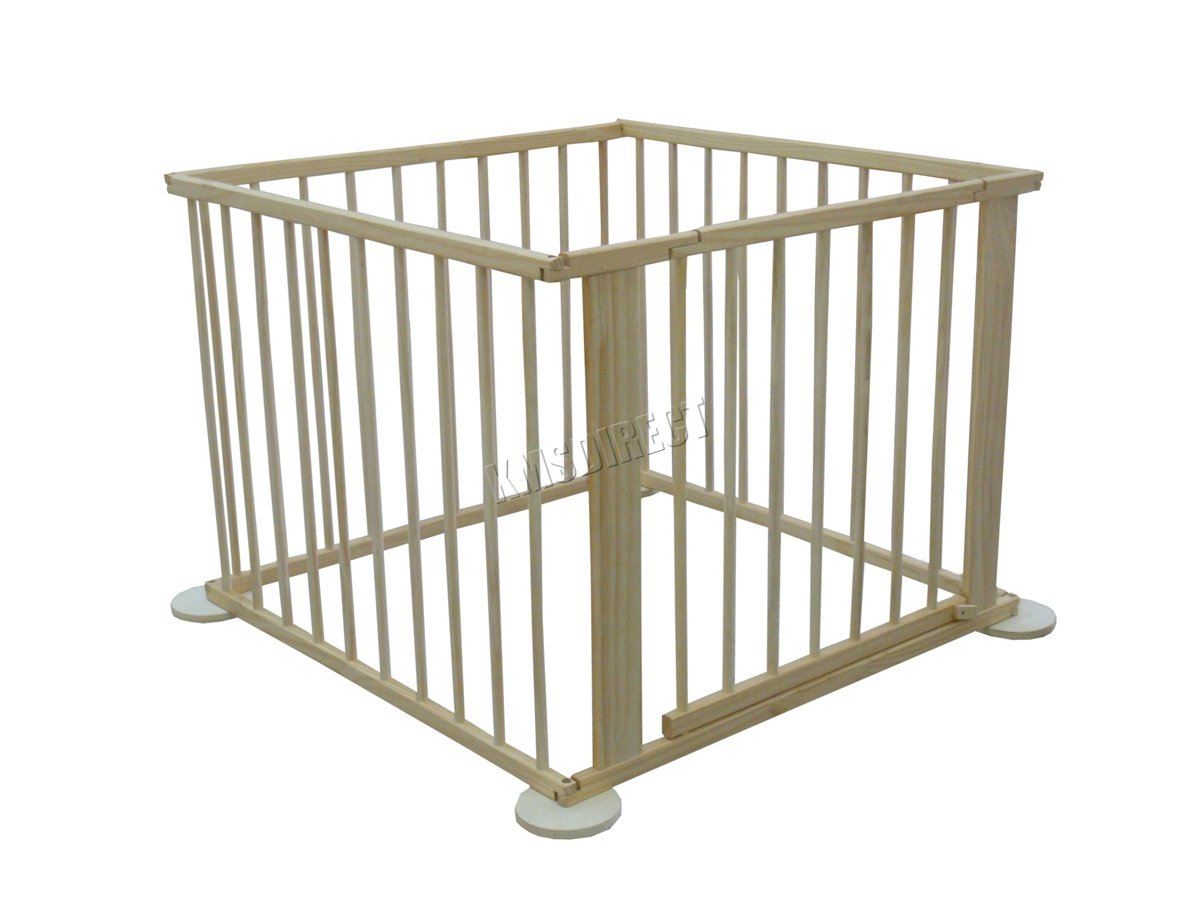 WestWood Portable Baby Child Children Foldable Playpen Play Pen Room Divider Wood Wooden 4 Side Panel Heavy Duty New WestWood High quality baby play pen with door; Can be used as a room divider (all brackets and screws provided); Feet have a rubber base to prevent scratched floors; 1