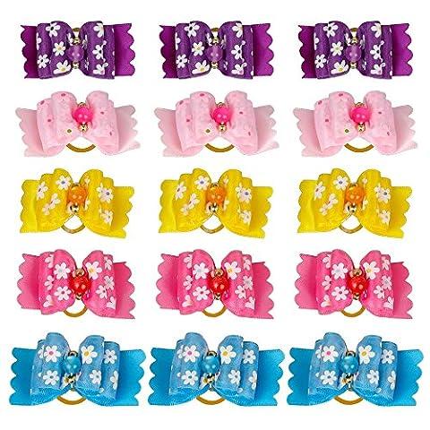 Berry mignon chien nœuds en nylon avec bandes élastiques en caoutchouc cheveux Toilettage Cafard cadeau multicolore