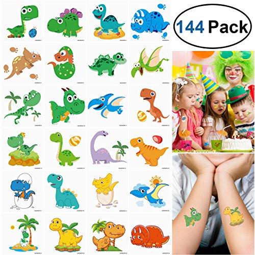 Unomor 144 Stück 2x2zoll Dino Kinder Tattoo Set für Dinosaurier Party Lieferungen, Kinder Geburtstag Party --24 Muster
