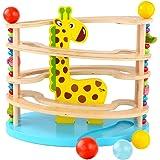 BeebeeRun Spielzeug aus Holz für Kleinkinder,Kugelbahn aus Holz ,Murmelbahn mit 3 Kugels,Premium Holzkugelbahn mit…