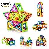 PovKeever 72 Stücke Magnetische Bausteine Kleinkind Spielzeug Magnetische Fliesen Bau Blocks Set Pädagogisches Spielzeug Perfektes DIY Spielzeug oder Kinder Geschenk