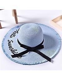 Sombrero de Paja de Verano Playa Sombrero de Playa Playa Sombrero Bordado  Letras Borde Crudo Protección f811065c2b1