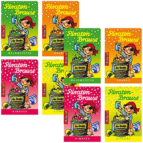 Preisvergleich Produktbild 8 x * PIRATEN BRAUSE * Mitgebsel Kindergeburtstag Süßigkeiten mit 4 Geschmäcker Hersteller aus Deutschland Kinder lieben diese Ahoj-Brause