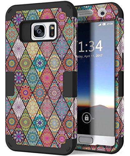 Galaxy S7Case, hocase Tropfen Schutz, Silikon Gummi Bumper + Hard Shell Hybrid-Dual-Layer Fullbody CASE Schutzhülle Handy Hülle für Samsung Galaxy S7(2016)-Mandala Blumen/schwarz (Kind Handys Att)