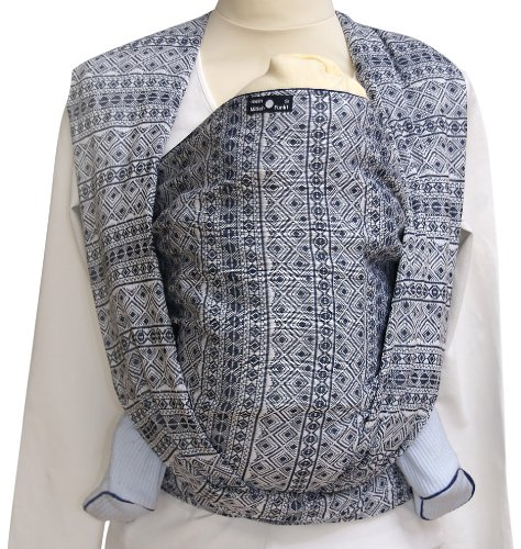 Didymos Indio Baby Wrap Sling (Size 4, Dark Blue/White) Didymos Various carrying positions, in front, sideways an on the back Special, diagonally stretchable cloth to give optimal support Holds your baby in the atomically correct posture 2