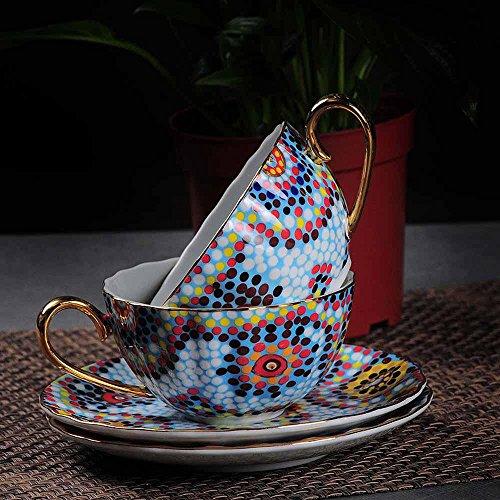 SSBY La tasse à café porcelaine ensemble, tasse à café haut de gamme créative, tasses en céramique de rouges, British tasse et soucoupe