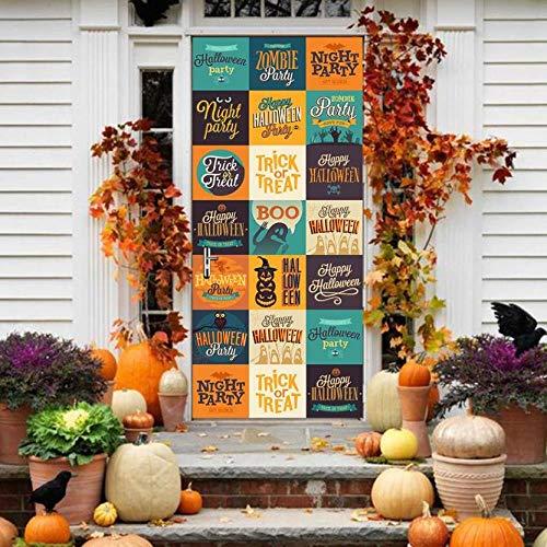 TACBZ 3D Tür Mural Tapete 95X215 Cm Happy Halloween Pvc Selbstklebende Tür Aufkleber Familie Wohnzimmer Schlafzimmer Büro Küche Home Art Dekoration
