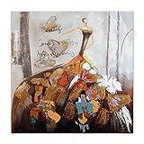 World Art, TWAS335X1, Donna con farfalle, Dipinti su telaio estetico, 100 x 100 x 3.5 Cm