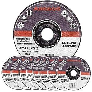 Assortiment de 100 disques à tronçonner à moyeu déporté pour Métaux Diamètre 125 mm Diamètre d'alésage 22,23 Epaisseur 1,0 mm 100 disques