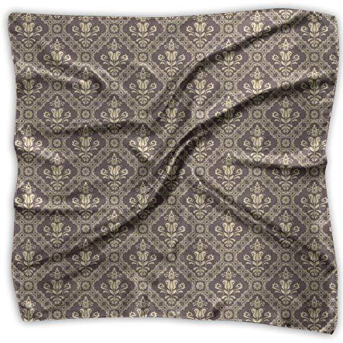 Mixed Designs Silk Square Scarves Bandana Scarf, Medieval Victorian Rococo Baroque Style Damask Tulip Flowers Renaissance Art,Womens Neck Head Set -