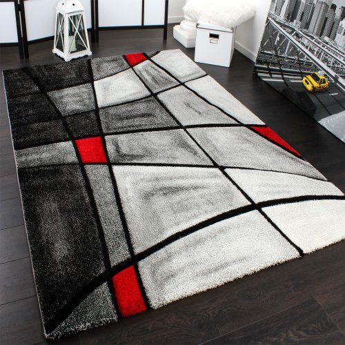 Designer Carpet Modern Rug Chequered Contour Cut Pattern In Grey Red Top Quality Top Price, Size:160x230 cm