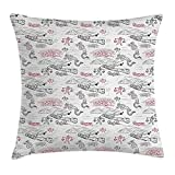 Ethnic Throw Pillow Cushion Cover, Great Wall of China Folk Motif with Authentic Dragons and Local Men Culture Print, Decorative Square Accent Pillow Case, 18 X 18 inches, Dark Grey Red