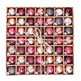 Victor's Workshop 49 Pezzi Palline di Natale Palle di Natale Decorazioni Natalizie Albero di Natale (Rosa & Viola)