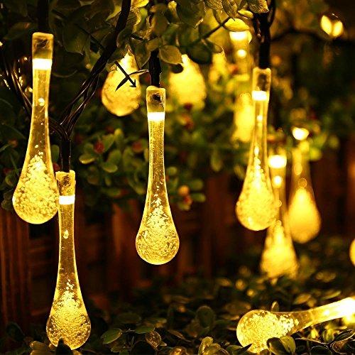 Bestland 20er LED Solar Lichterkette 4.8 Meter Crystal Teardrop Wasserdicht Tragbar Solarleuchten Dekorative Lichter für Weihnachten,Party,Garten Außen,Hochzeit, Fest Deko -Warmweiß (Teardrops Crystal)