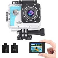 Jadfezy Action-Kamera, wasserdicht bis 40 m, mit EIS 140 Grad Weitwinkel, zwei 900 mAh wiederaufladbare Akkus und…