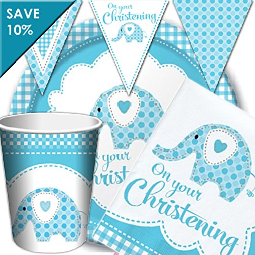 ening Party Kit for 16 Guests with Decorations by Party Parade (Blue Elephant Party Supplies)