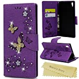 Xperia XA1 Ultra Case ,Sony Xperia XA1 Ultra Case - Mavis's Diary Bling Wallet Case Glitter Diamonds PU Leather Folio Cover [Butterfly Embossed] with Inner Rubber Back Holder Magnetic Closure Card Slots & Stand - Purple (Not for Sony Xperia XA1)