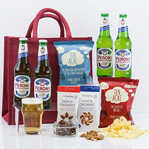 Natures Hampers Beer & Snacks with Buddies Gift Bag - Beers Gift Set - Beer & Food - Beers Gift Pack - Peroni Beer - Birthday for Him - Birthday for Her - Vegetarian - Christmas Gifts - Xmas Present