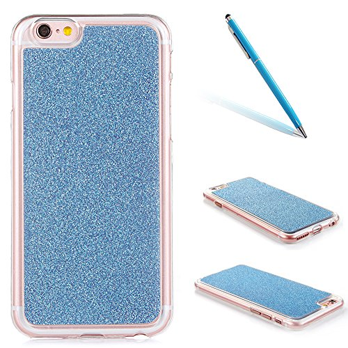 "Translucide Cover avec Kickstand Ring pour Apple iPhone 6/6s 4.7"", CLTPY Soft Gomme Shell dans 2in1 Amovible Scintillate Glint Motif Antipoussière Anti-rayures Ultra Mince Léger Fit pour iPhone 6,iPho Blue"