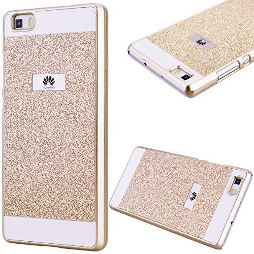 GrandEver Custodia Rigida per Huawei P8 Lite, UltraSlim Dura PC Protettiva Cover Bumper, Glitter Bling Hard Protettivo Durable Case con Diamanti Back Case Copertura - Oro