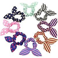 Hustar - 12 bandas para el pelo de orejas de conejo con diseño de lunares, para mujeres y niñas