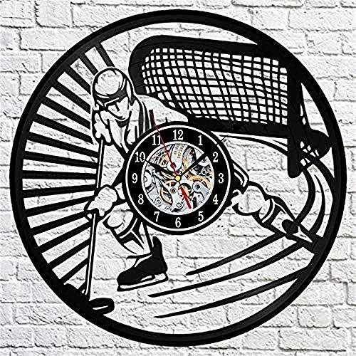 SSCLOCK Vintage Eishockey Schallplatte Wanduhr Hockey Player Modernes Design 3D Uhr Wanduhr Wohnkultur