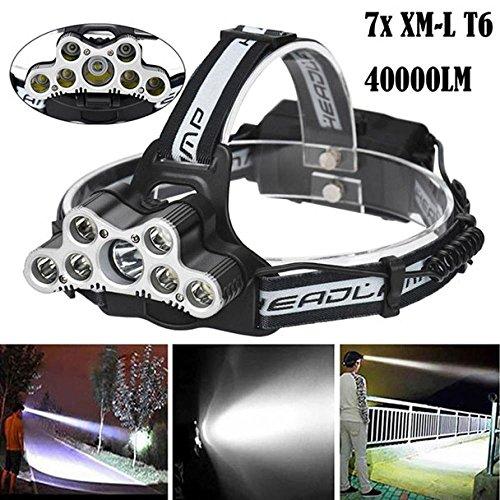 Mitlfuny 40000 LM 7X XM-L T6 LED Wiederaufladbare Scheinwerfer Scheinwerfer Travel Head Torch 6 Licht Modi, Wiederaufladbare Taschenlampe mit Zoom für Camping, Wandern und Notfälle ()