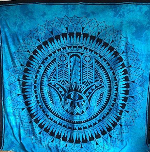"""Reina India negro cielo Azul Fátima Hamsa Mano diseño psicodélico tapiz colgar en la pared mandala manta Hippie gitana cubierta de flores dormitorio deco 100% algodón 92""""X 84"""""""