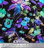 Soimoi Blau Satin Seide Stoff Blätter, Blumen & Robin