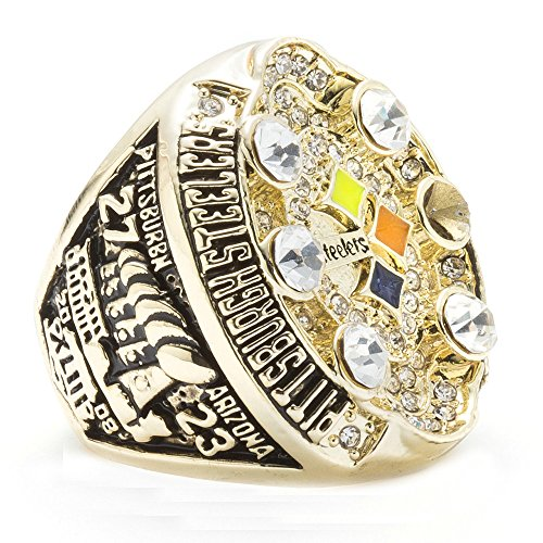 LANCHENEL Männer Titan Stahl 2008 Pittsburgh Steelers Championship Ringe,Größe 62(19.7)