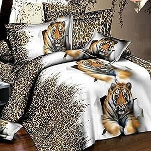Home Textiles léopard 3d de couette Taille double 5D Parure de draps de lit avec housse de couette sabanas lit en lin edredon cama feuille