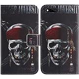 TienJueShi Totenkopf Flip Book-Style Brief Leder Tasche Schutz Hulle Handy Case Abdeckung Fall Wallet Cover Etui Skin Fur RAZER PHONE RZ35-0215 5.7 inch