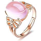 Aiuin - Anello regolabile in argento con strass rosa, da donna, alla moda, elegante, regolabile, aperto, con sacchetto per gi